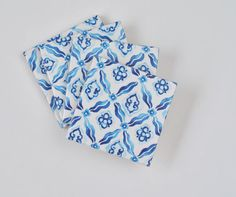 Tile Coasters Blue Watercolor Greek Pattern on White by Tilissimo