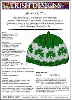 Hand Knitting Pattern Shamrocks Hat Knitting Pattern PDF on Etsy, $4.99