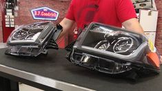 Toyota Tundra Projector Headlight Black With LED DRL Pair W/ Halogen Headlights 2014-2016