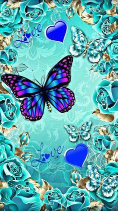 By Artist Unknown. Blue Butterfly Wallpaper, Butterfly Background, Flower Phone Wallpaper, Butterfly Painting, Cute Wallpaper Backgrounds, Butterfly Art, Love Wallpaper, Cellphone Wallpaper, Pretty Wallpapers