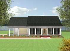 The covered front porch welcomes you into this country cottage house plan. The great room features a wall of built-in entertainment space and upper/lower cabinets for additional storage. The kitchen/dining area is open and airy - perfect for entertaining friends and famly. A large pantry can be found close to the kitchen and laundry room. A 1/2 bath is located close to the laundry for easy access. A French door leads out onto a rear covered porch. A nicely-sized laundry room i...