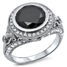 Noori 14k Gold 2 7/8ct TDW Black and Diamond Halo Ring