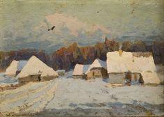 Wiktor Korecki - Pejzaż zimowy z chatami
