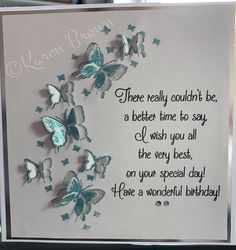 Butterfly arch from stamps by Chloe. Birthday Verses For Cards, Birthday Cards For Women, Handmade Birthday Cards, Happy Birthday Cards, Hand Made Greeting Cards, Greeting Cards Handmade, Chloes Creative Cards, Stamps By Chloe, Card Sentiments