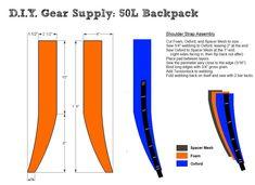 Shoulder Strap Design for DIY Backpack Diy Backpack, Backpack Straps, Commuter Bag, Rainy Day Crafts, Backpack Pattern, Ultralight Backpacking, Bag Patterns To Sew, Sewing Patterns, Bug Out Bag