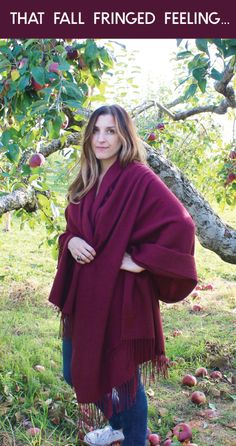 Love this merlot-color blanket scarf! Looks so cozy!
