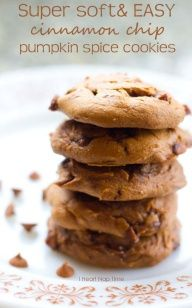 Pumpkin Cinnamon Chip Cookies  (5 ingredients) ... 1 box Spice Cake mix, 1 can *15 oz* pumpkin, 1 box Jello pumpkin pudding mix, 1/2 cup water, 1.5 cups cinnamon chips.  Mix all ingredients together and scoop spoonfuls onto cookie sheet.  Bake at 350 for 8-10 minutes, or until lightly browned.  Would be especially good if iced with cream cheese frosting!!