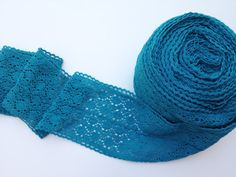 Beautiful Crocheted Lace Trim  Teal  6.5 wide  by LoveFabricLove
