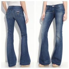 "NWOT HUDSON Ferris Flare Jeans in Felix 25 Hudson Ferris Flare Jeans in Felix. Like new condition - worn once or twice max! Exclusively for Nordstrom. Measurements: 24"" leg opening (around), 33"" inseam, 13.5-14"" across the waist when laying flat, 29-29.5"" around the waist (with tape measure through belt loops). Material: 89% cotton, 11% EME. Fit is low rise - 7"" from crotch to top of waist. Look great with a wedge heel! Hudson Jeans Jeans Flare & Wide Leg"
