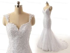 Backless Lace Wedding Dresses/White/Ivory by customdress1900
