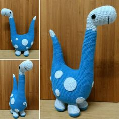 Bernard, crocheted version of Rebecca Danger's knitted pattern of Basil the Boogie-woogie Brontosaurus. Made for TheLoopyCat.