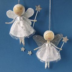 angel clothespin doll | CUSTOM ORDER for Edelweiss123 Silver Angel by WeeCuteTreasures