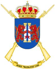 File:Coat of Arms of the Mechanized Infantry Battalion Badajoz. Mystery Of History, Crests, West Indies, Coat Of Arms, Spanish, Army, Patches, Commonwealth, Hunters