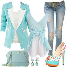 Jeans, white and light teal out fit with poke a dot shoes