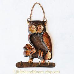 Vintage Metal Hanger Owl. Wall hanging jewelry hooks, Owl Key Hook,