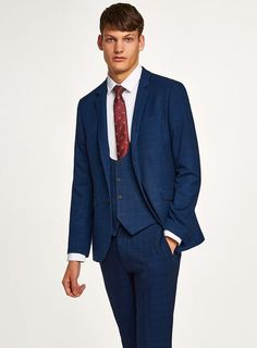 Navy With Subtle Windowpane Check Skinny Three Piece Suit Topman Suits, Trouser Suits, Mens Suits, Trousers, Skinny Suits, Three Piece Suit, Asos, Suit Jacket, Navy