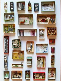 Maybe could be inspiration for Me in a box. All about me diorama mano's welt: kunstschachteln 339 - 345 Art Boxes Diy And Crafts, Arts And Crafts, Paper Crafts, Wal Art, Art Postal, Matchbox Art, Assemblage Art, Little Boxes, Art Plastique