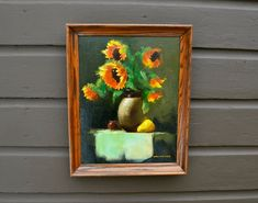 Oil Painting of Sunflowers, Vintage Still Life Painting, Oil on Canvas Framed Painting Canvas Frame, Oil On Canvas, Romantic Paintings, Cottage Art, Green Backgrounds, Painting Frames, Love Art, Sunflowers, Still Life