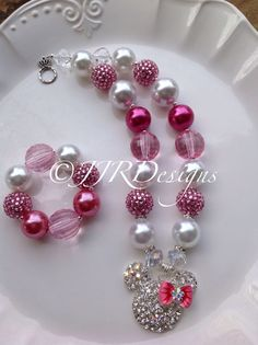 Minnie Mouse Inspired Girl Necklace- Pink Rhinestone Minnie-Chunky-Bubble Gum Necklace- Minnie Rhinestone