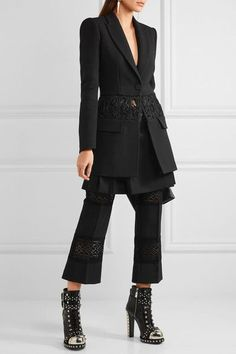 Alexander McQueen - Cropped Macramé-paneled Wool And Silk-blend Flared Pants - Black - IT