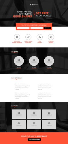 Fitness Landing Page Template Page Template, Templates, Web Design Inspiration, Design Ideas, Wordpress Landing Page, Design Your Own Website, Free Day, Web Development, Get Started