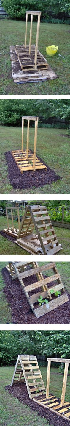 3 pallets, compost and 2 bags of mulch create a veggie garden in about an hour