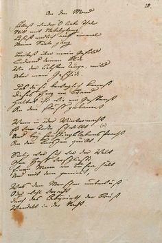 An den Mond (1778), waarvan Goethe een geschreven exemplaar aan Charlotte von Stein stuurde.