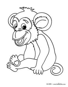Monkey picture coloring page. More jungle animals coloring sheets on hellokids.com