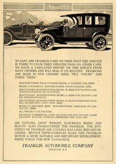 1911 Ad Franklin Automobiles Models G M D H Touring Car Vehicle Vintage HM1