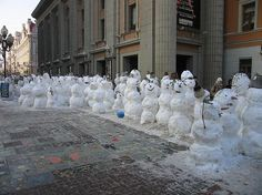 Snowmen waiting in line