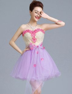 ❀ Strapless Homecoming Dress With Light Purple Skirt And Light Yellow Top | Riccol ❤