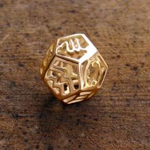 gold dodecahedron pendant with zodic each symbol