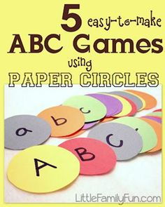 Alphabet Learning Ideas ~ Preschool and Kindergarten Community 5 Easy to make ABC Games usingh paper circles Preschool Literacy, Preschool Letters, Learning Letters, Literacy Activities, In Kindergarten, Kids Learning, Alphabet Games For Kindergarten, Abc Learning Games, Early Literacy