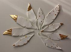 9 Potöpot Porzellan Keramik Federn Gold Ostern von bonbonsetc
