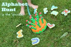 Splish Splash Alphabet Hunt-Summer Camp at Home Week Literacy And Numeracy, Early Literacy, Abc Activities, Summer Activities, Alphabet Phonics, Summer Fun For Kids, Outdoor Classroom, Learning Letters, Splish Splash