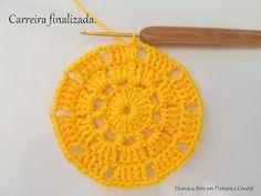 Diandra Arte em Crochê: PAP- TRILHO DE MESA RAIO DE SOL Crochet Doily Diagram, Crochet Doilies, Crochet Hats, Yellow Pattern, Crochet Projects, Create Your Own, Crochet Earrings, Potholders, Petra