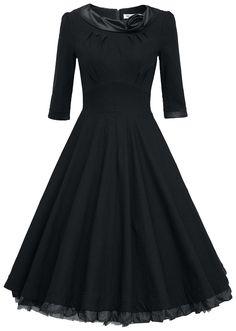 MUXXN Ladys 1950s Rockabillty 3/4 Sleeve Swing Vintage Dress (L, Black) at Amazon Women's Clothing store: