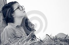 Photo about Learning from nature - young girl model read. Image of straw, curly, learning - 58369924