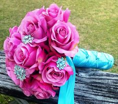 Silk Bridal Bouquet Pink real touch roses turquoise brooches by SilkFlowersByJean, $75.00