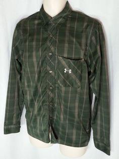 Under Armour Shirt Mens SZ Small Green Plaid Nylon Button Front Long Sleeve #UNDERARMOUR #ButtonFront