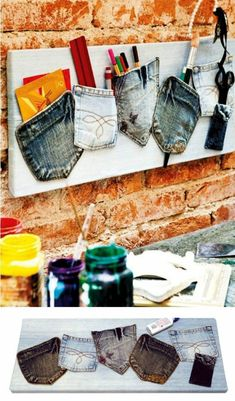 Recycling old jeans. for my craft room Jean Crafts, Denim Crafts, Diy Home Crafts, Sewing Crafts, Arts And Crafts, Diy Projects To Try, Craft Projects, Sewing Projects, Creation Deco