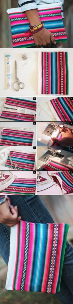 Omg I wish I had a sewing machine  I would so make this clutch ❤ beautiful colors remind me of Mexico ❤