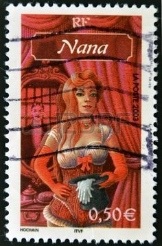 Drawing of  Nana  Emile Zola s novel, stamp printed in France,circa 2003
