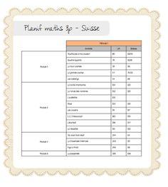 Planification annuelle Maths 3p - Suisse
