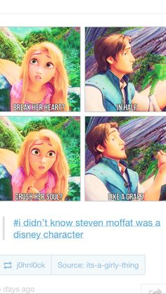 I didn't know Moffat was a Disney character... No!  now every time I see Flynn, I will think of this...