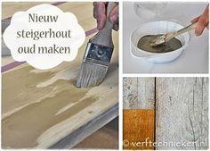Nieuw steigerhout oud maken .