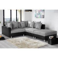 Moderne hoekbank Loft met hocker grijs/zwart  - 35193