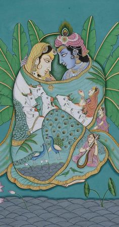 Pichwai Paintings, Indian Art Paintings, Watercolor Paintings Abstract, Silk Painting, Painting Tips, Painting Art, Krishna Painting, Krishna Art, Mughal Miniature Paintings