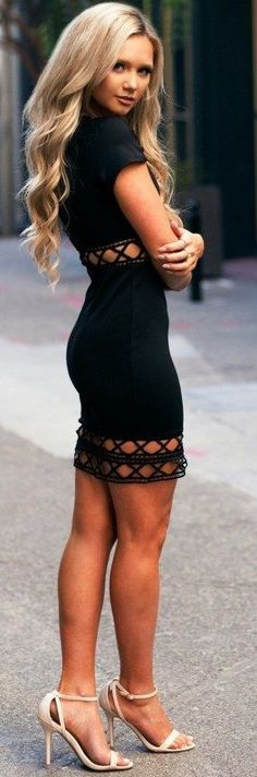 #summer #elegant #outfits | Pattern Cut Outs Little Black Dress