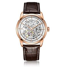 Rotary Men's Automatic Watch with White Dial Analogue Display and Brown Leather Strap GS00656/06 - http://www.darrenblogs.com/2017/03/rotary-mens-automatic-watch-with-white-dial-analogue-display-and-brown-leather-strap-gs0065606/